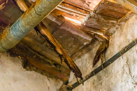 sunlight entering hole in ripped roof