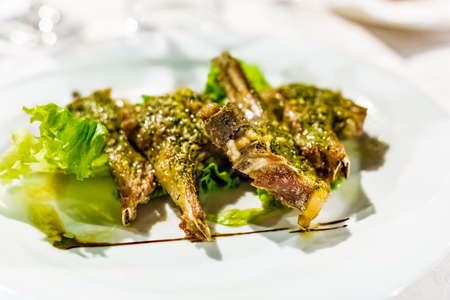 Grilled chops of Castrated lamb served on a bed of salad Banco de Imagens