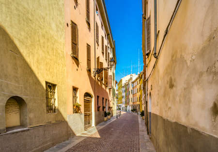 Colorful buildings in Parma, elegant town in the Emilia Romagna region of Northern Italy Stock Photo