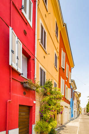 colorful houses in street of Parma Stock Photo