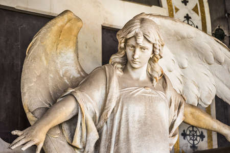 closeup of statue of angel spreading arms and wings Archivio Fotografico