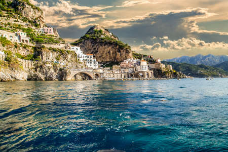 view of Amalfi from open sea Banque d'images - 107596107