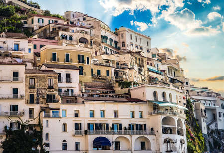 ancient buildings on hills of Amalfi Stock Photo
