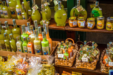 AMALFI (SA), ITALY - AUGUST 29, 2018: Amalfi Lemon products on sale Stock Photo - 107668074