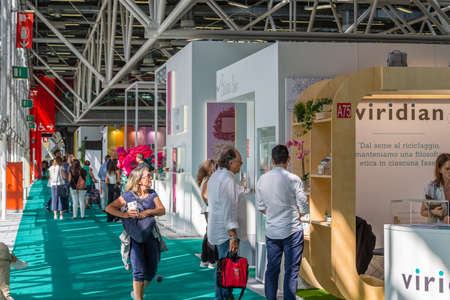 BOLOGNA (ITALY), SEPTEMBER 10, 2018: Visitors are walking in the lanes and visiting the stands of the exhibitors at SANA, international exhibition of organic and natural products