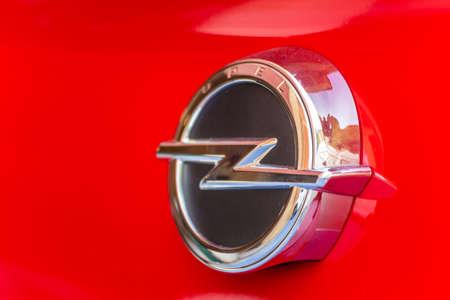 LUGO, ITALY - September 11, 2018: light enlightening OPEL logo on a car body Editorial
