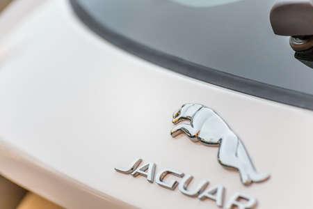 LUGO, ITALY - September 11, 2018: light enlightening jaguar logo on a car body Stock Photo