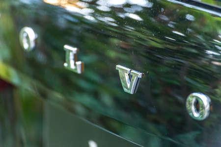 LUGO, ITALY - September 11, 2018: light enlightening VOLVO logo on a car body