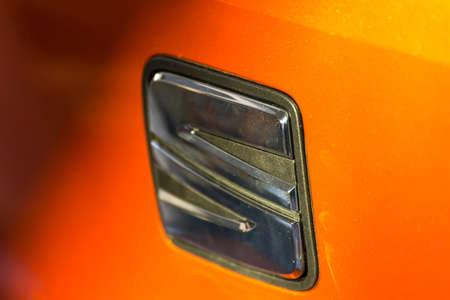 LUGO, ITALY - September 11, 2018: light enlightening  SEAT logo on a car body Editorial