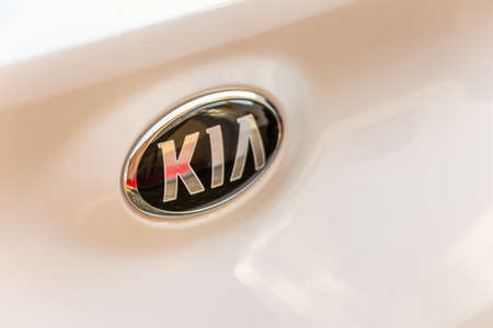 LUGO, ITALY - September 11, 2018: light enlightening  KIA logo on a car body Editorial
