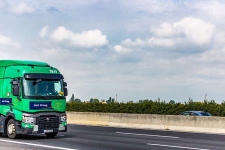 FAENZA (RA), SEPTEMBER 15, 2018: The truck with the JOST GROUP logo moves quickly on the highway