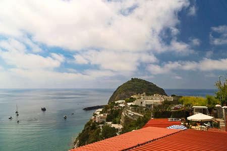 moored boats in bay of Ischia island, Naples in Italy
