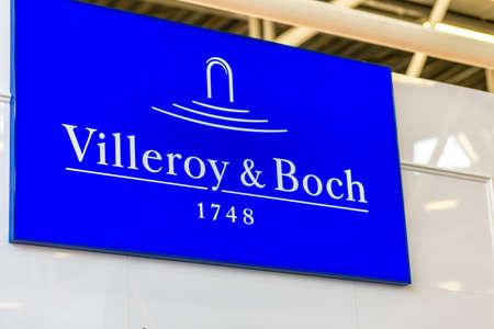 BOLOGNA (ITALY), SEPTEMBER 26, 2018: light is enlightening VILLEROY & BOCH logo at CERSAIE, international exhibition of ceramic tile and bathroom furnishings