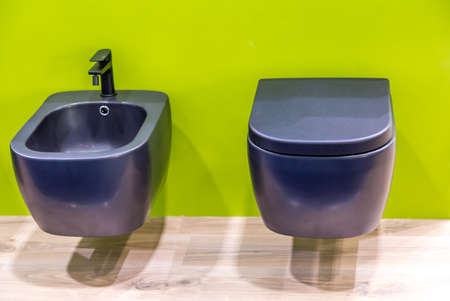 suspended blue toilet bowl and bidet on green wall