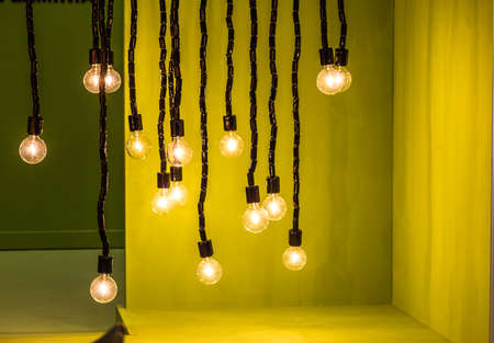 Bulbs dangling from the ceiling