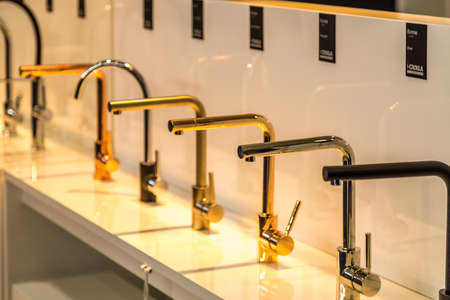 BOLOGNA (ITALY), SEPTEMBER 28, 2018: light is enlightening luxurious CROLLA faucets at CERSAIE, international exhibition of ceramic tile and bathroom furnishings