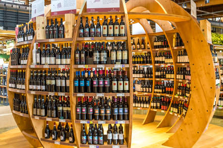 BOLOGNA, ITALY - OCTOBER 2, 2018: lights are enlightening bottles of wines at FICO EATALY WORLD, the largest agri-food park in the world