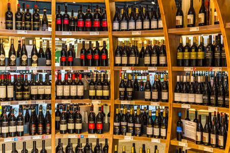 BOLOGNA, ITALY - OCTOBER 2, 2018: lights are enlightening bottles of wine at FICO EATALY WORLD, the largest agri-food park in the world