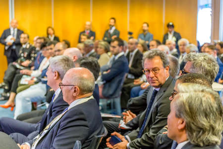 San Polo di Torrile, Italy - October 12, 2018: people Attending the conference for theinauguration of the plant to produce Fostemsavir, innovative anti-HIV drug