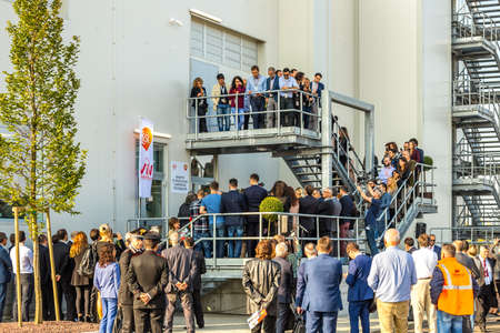 San Polo di Torrile, Italy - October 12, 2018:   Managers and workers of GSK and Italian authorities inaugurate the new plant to produce Fostemsavir, innovative anti-HIV drug