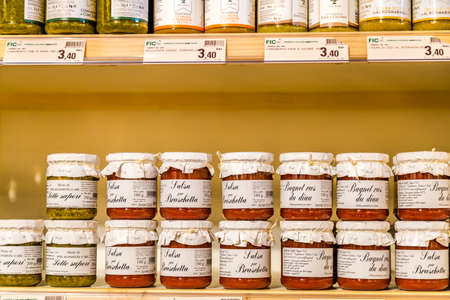 BOLOGNA, ITALY - OCTOBER 2, 2018: lights are enlightening  sauces for bruschetta at FICO EATALY WORLD, the largest agri-food park in the world