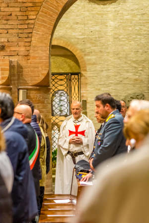 FORLI, ITALY - OCTOBER 26, 2018: The city mayor Davide Drei and Catholic Templar Knights participate in the ritual of Holy Mass with exposition of relics of Saint Mercuriale Editorial