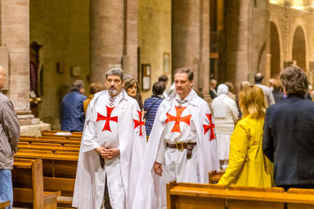 FORLI, ITALY - OCTOBER 26, 2018: Catholic Templar Knights participate in the ritual of Holy Mass with exposition of relics of Saint Mercuriale during Feast of the Patron Saint