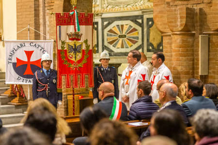 FORLI, ITALY - OCTOBER 26, 2018: The city mayor Davide Drei and Catholic Templar Knights participate in the ritual of Holy Mass with exposition of relics of Saint Mercuriale Redakční