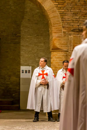 FORLI, ITALY - OCTOBER 26, 2018: Catholic Templar Knights participate in the ritual of Holy Mass with exposition of relics of Saint Mercuriale during Feast of the Patron Saint. Editöryel