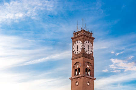 ancient clock tower on sky background