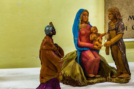 IMOLA (BO),ITALY - DECEMBER 27, 2017: lights are enlightening artistic crib in the 7th edition of the Nativity Scenes Exhibition in the Convent of the Observance