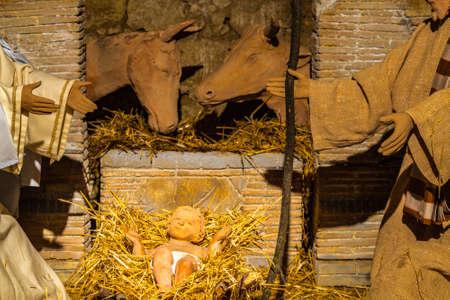 Baby Jesus in Christmas Nativity Scene 写真素材