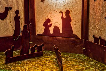 Baby Jesus, Saint Joseph and the Blessed Virgin Mary in Nativity Scene