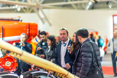 BOLOGNA, ITALY – NOVEMBER 10, 2018:  people visiting the fair of EIMA 2018,  International Agricultural and Gardening Machinery Exhibition Sajtókép