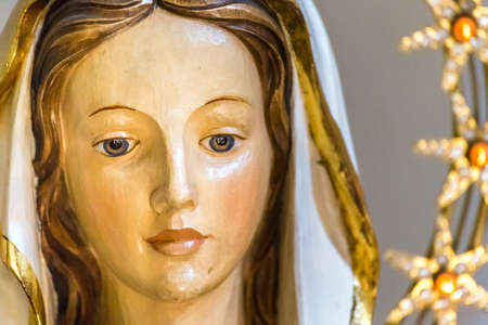 Closeup of statue of the Blessed Virgin Mary 写真素材