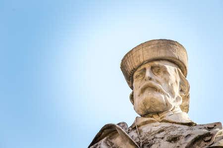 RAVENNA, ITALY: sun is enlightening the statue of Giuseppe Garibaldi Stock Photo