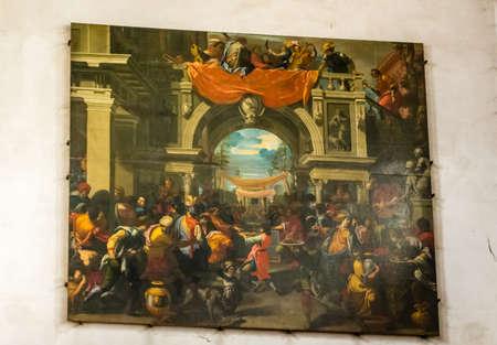 RAVENNA, ITALY - SEPTEMBER 13, 2018: light is enlightening Convito di Assuero, painting in the Church of Saint John The Evangelist Editorial