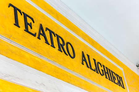 RAVENNA, ITALY - SEPTEMBER 13, 2018: light is enlightening signboard of theatre