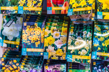 BOLOGNA, ITALY - OCTOBER 2, 2018: lights are enlightening bags of flowers seeds at FICO EATALY WORLD, the largest agri-food park in the world