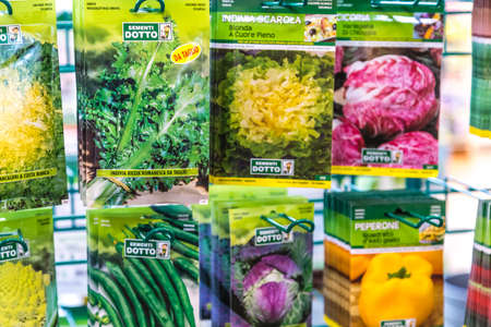 BOLOGNA, ITALY - OCTOBER 2, 2018: lights are Bags of vegetable seeds enlightening at FICO EATALY WORLD, the largest agri-food park in the world