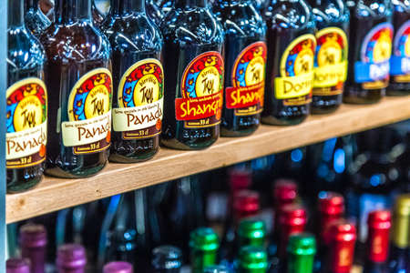 BOLOGNA, ITALY - OCTOBER 2, 2018: lights are enlightening bottles of artisanal beers at FICO EATALY WORLD, the largest agri-food park in the world