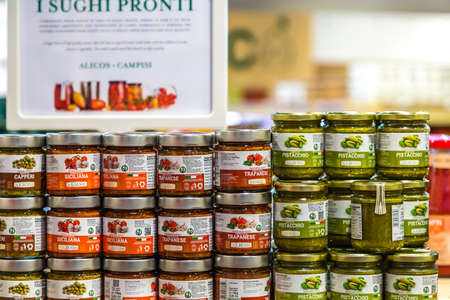 BOLOGNA, ITALY - OCTOBER 2, 2018: lights are enlightening sauces at FICO EATALY WORLD, the largest agri-food park in the world