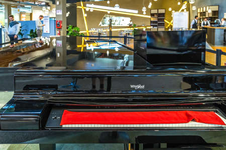 BOLOGNA, ITALY - OCTOBER 2, 2018: lights are enlightening whirlpool piano at FICO EATALY WORLD, the largest agri-food park in the world