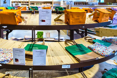 BOLOGNA, ITALY - OCTOBER 2, 2018: lights are enlightening shopping bags at FICO EATALY WORLD, the largest agri-food park in the world Editorial