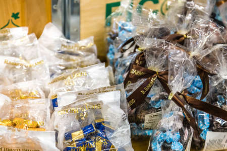 BOLOGNA, ITALY - OCTOBER 2, 2018: lights are enlightening assorted chocolates at FICO EATALY WORLD, the largest agri-food park in the world