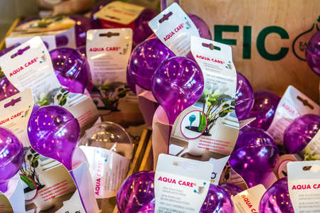 BOLOGNA, ITALY - OCTOBER 2, 2018: lights are enlightening watering bottle at FICO EATALY WORLD, the largest agri-food park in the world Editorial