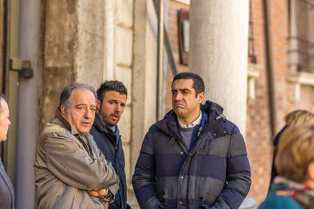 RAVENNA, ITALY - JANUARY 15, 2019: the Prefect Enrico Caterino, the Mayor of Cervia, Luca Coffari and the Mayor of Ravenna, Michele De Pascale waiting for the arrival of the Head of the Italian Civil Protection Department, Angelo Borrelli.