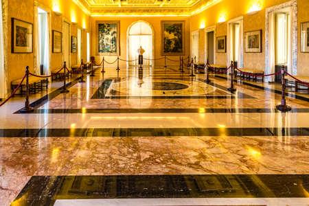CASTEL GANDOLFO (ROME), ITALY - JANUARY 3, 2019: lights are enlightening room of The Papal Palace of Castel Gandolfo