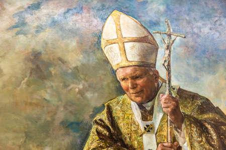 CASTEL GANDOLFO (ROME), ITALIE - 3 JANVIER 2019 : les lumières éclairent la peinture du Pape Jean Paul II dans la salle du Palais des Papes de Castel Gandolfo Éditoriale