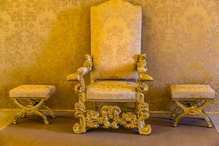 CASTEL GANDOLFO (ROME), ITALY - JANUARY 3, 2019: lights are enlightening seat in room of The Papal Palace of Castel Gandolfo Editorial